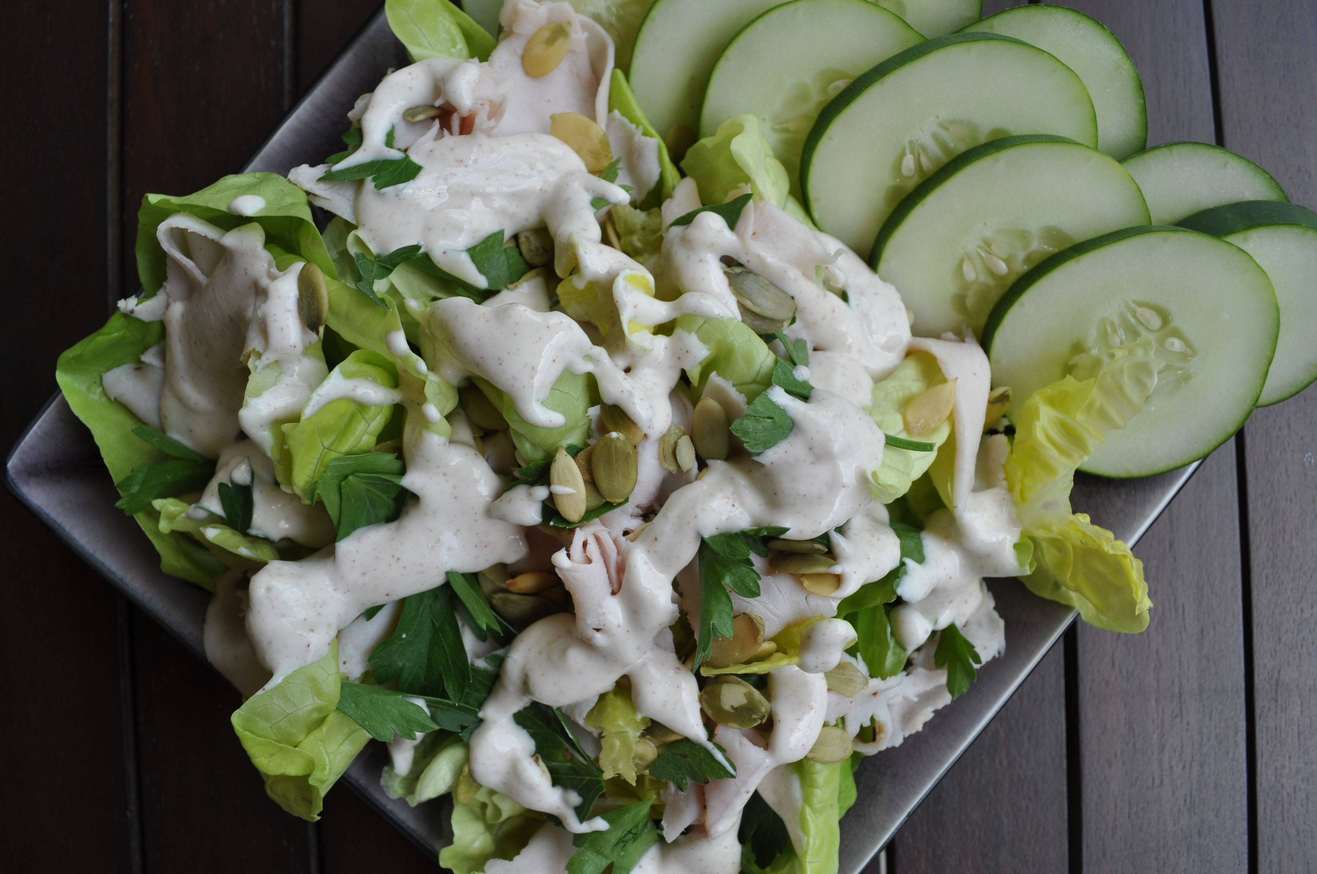 turkey parsley salad with creamy cumin dressing