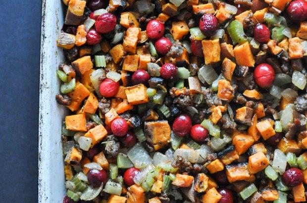 Paleo Sweet Potato Cranberry Stuffing | Fed+Fit-4