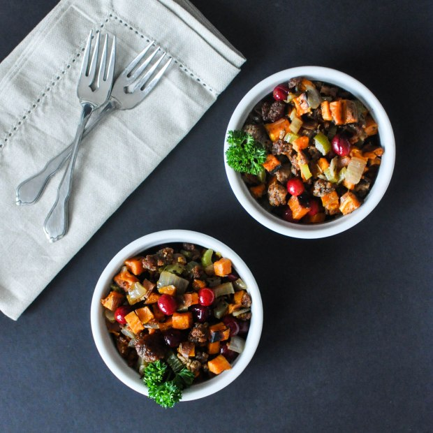 Paleo Sweet Potato Cranberry Stuffing | Fed+Fit-5