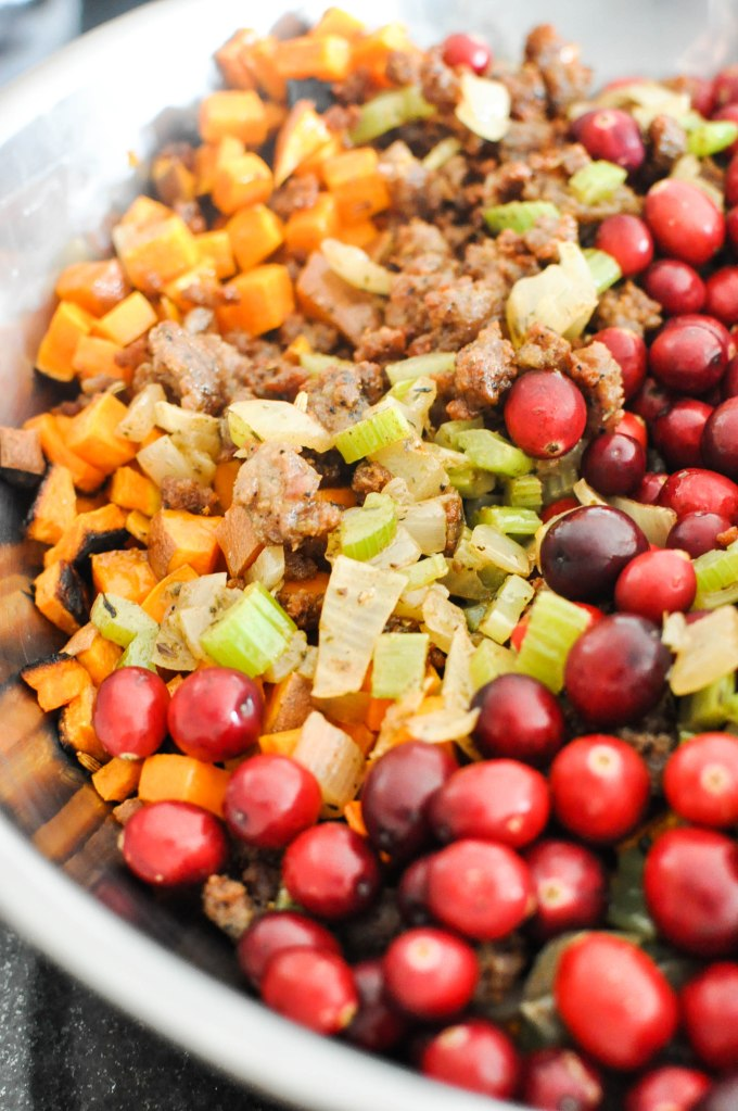 Paleo Sweet Potato Cranberry Stuffing | Fed+Fit-65
