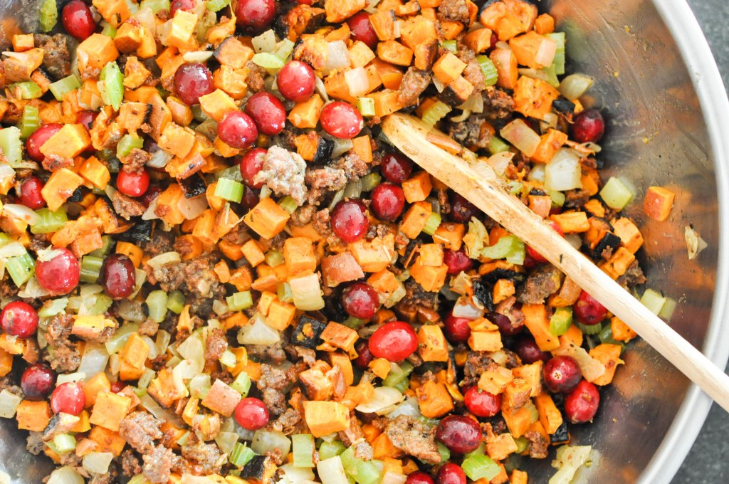 Paleo Sweet Potato Cranberry Stuffing | Fed+Fit-66