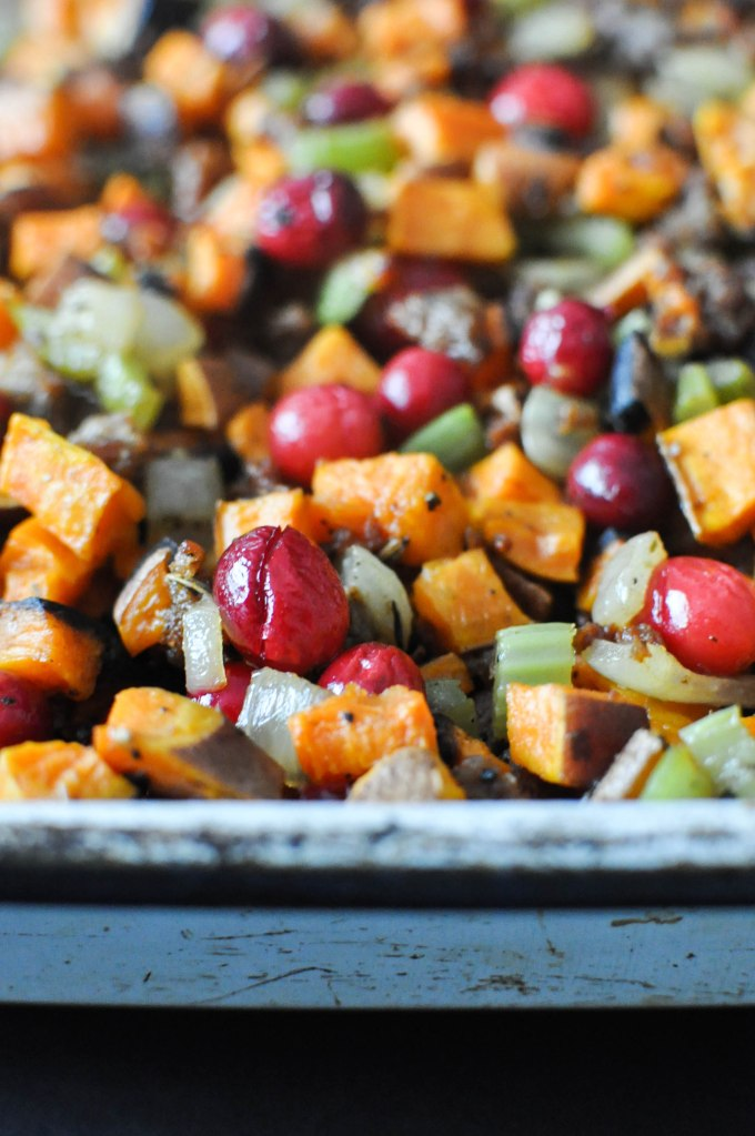 Paleo Sweet Potato Cranberry Stuffing | Fed+Fit-71