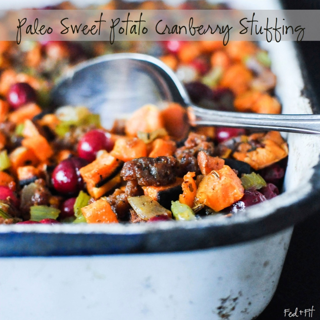 Paleo Sweet Potato Cranberry Stuffing | Fed+Fit